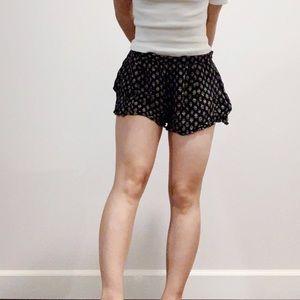 Paisley Print Black Flowy Shorts